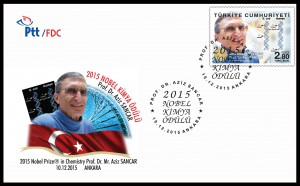 Prof.Dr. Aziz Sancar Stamp FDC - TURKEY - Crystal Concepts